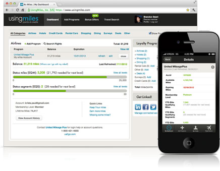 UsingMiles loyalty program dashboard